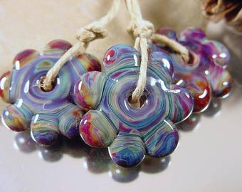 Handmade lampwork glass bead set, Artisan glass beads, blue beads, purple beads, fuchsia beads, flower shaped beads, SRA lampwork beads