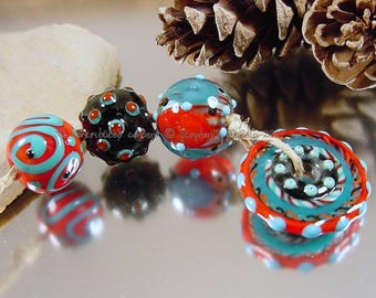 Handmade lampwork glass bead set, Artisan glass beads, red beads, blue beads, black beads, disc bead, mixed lot bead set, SRA lampwork beads