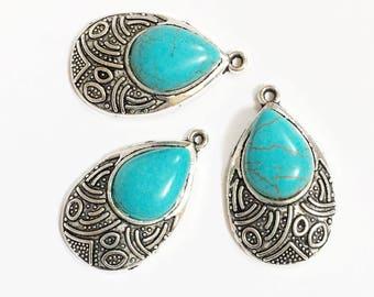 4 pcs Antique silver turquoise teardrop pendant, Turquoise earring drops  17x28mm