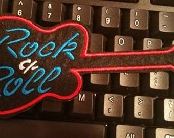 Rock n Roll Guitar Embroidered  Iron On Patch