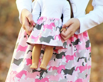 Matching Girl and Doll Clothes Fits American Girl Doll - Unicorn Herd Skirts in Pink, Sizes 1T, 2T, 3T, 4T, 5T, 6, 7, 8, 10, 12, 14