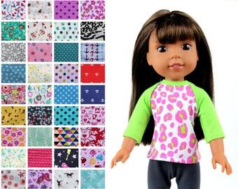 Fits like Wellie Wishers Doll Clothes - The Baseball Raglan Tee, You Choose Print