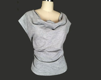 Alena Designs - Pauline - Drape Neck Top with Cap Sleeves  - Heather Knit Cotton Lycra- Light Grey