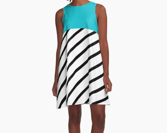 Stripes and blue Dress, Modern Dress, Woman Dress, Dress for Woman, Geometric Dress, Colorful Dress, summer dress, Gifts for her