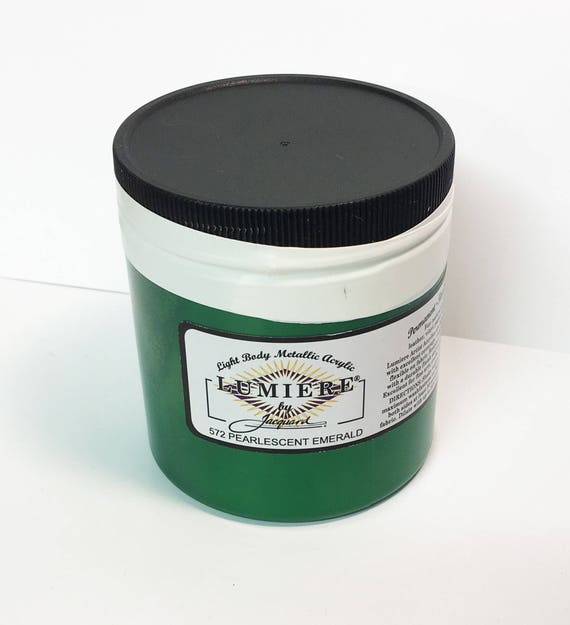 Lumiere Pearlescent Emerald 572 - 8 oz Size - Brilliant Light Body Metallic Acrylic Paint - Art Craft Fabric Canvas Wood Paper Pearl Effect