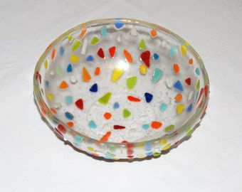 "Fiesta Bowl, Colorful Bits, Clear Glass Fruit Bowl in Fused Glass, 7.5"", Handcrafted, Original Design, Multi-Color Bits; FREE Shipping"