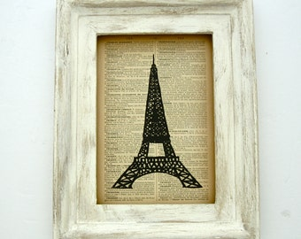 Eiffel Tower Print Vintage Style Travel Art Paris Print Eiffel Tower Linocut Paris Decor Hand Pulled Print French Dictionary Art