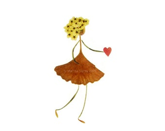 Pressed flower art -Wedding, Engagement, Anniversary, I Love You, Valentine's Day - Girl holding a heart - Oshibana - Garden note card