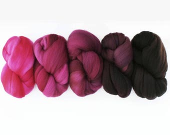 "Superwash Merino Combed Top Ombre Gradient Spinning Fiber Set, 5 oz total, ""Contempo"""