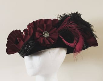 Custom Pirate Hat Black Burgundy  Unique Gothic Romantic Tricorn