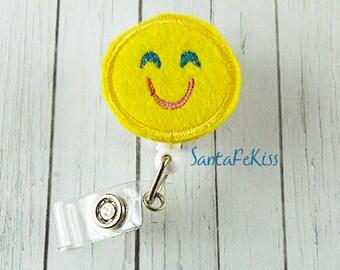 Smiling Emoji Felt Badge Holder with Retractable Reel handmade by SantaFeKiss