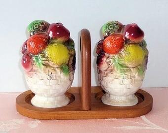 Vintage Japan Ceramic Fruit Basket Salt & Pepper Shaker Set with Teak Wood Carrier NICE