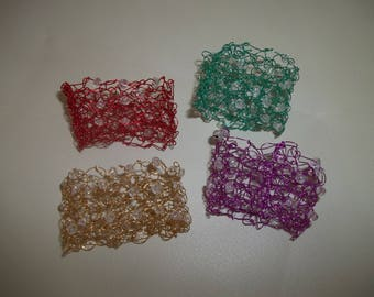 Wire Napkin Ring ~ Set of 4 Napkin Rings ~ Crocheted Wire Napkin Ring ~ Boho Napkin Rings