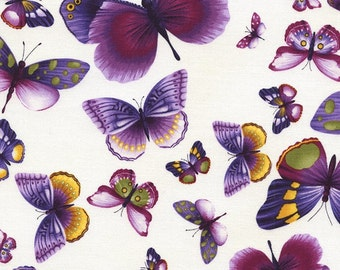 Viola Collection-Pansy-Butterflies on Ivory-Chong-a Hwang-Timeless Treasures-Butterflies-Cotton Fabric-By the yard-WindyRobinCotton