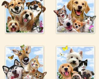 Pet Selfies Cream Panel - Elizabeth's Studio- Dog Selfies- Cotton Fabric - Dogs - By the Panel.