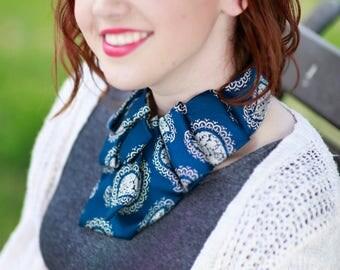 Necktie Scarf - Womens Vintage Necktie - Memoriam Gift - Ascot - Necktie Necklace - Work Wear - Blue Vintage Paisley Tie. 13.