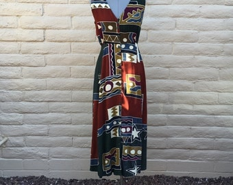 Vintage 80s Maxi Dress Sleeveless African Ethnic Button Front Sz S