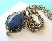 RESERVED..Carolyn Pollack Lapis Pendant Enhancer and Heavy Textured Rope Necklace