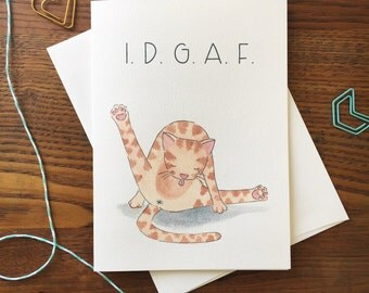 Cat Card. Cat Lover Card. Cat Butt Card. Cat Humor Card. Cat Illustration. IDGAF Card. Blank Card. Card for friend. Cat Owner. Orange cat