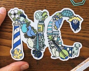 North Carolina Sticker. NC Vinyl Sticker. Die cut stickers. Car Sticker. Laptop Decal. Water Bottle Sticker.