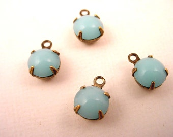 6 Vintage Light Blue Calcedon Round Japanese Glass Drop antique brass ox Charms 7mm