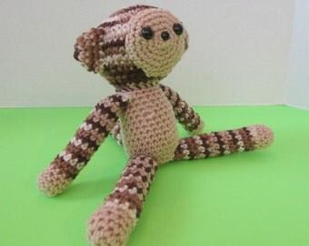 Plush Toy Monkey. Soft Stuffed Toy Monkey. Stuffed Animal Monkey. Amigurumi Monkey in Tan & Brown Ombre. Ready-to-Ship