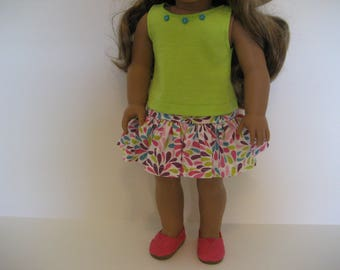 18 Inch Doll Clothes - Splashes of Color Skirt Outfit made to fit dolls such as the American Girl doll clothes
