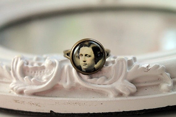 Lewis Carroll ring  Alice in Wonderland feminine victorian photo  sepia black and white small