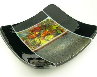 Colorful Square Fused Glass Sushi Plate Dish in Metallic Gold Silver, Red, Yellow, Blue, Black and White