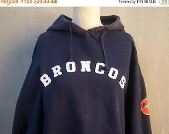 40% MOVING SALE Vintage BRONCOS hoodie / patchwork sweatshirt / Adidas men's hoodie, boyfriend pullover / navy blue Xxl 2xl