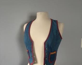 1970s denim and leather vest Bohemian vest