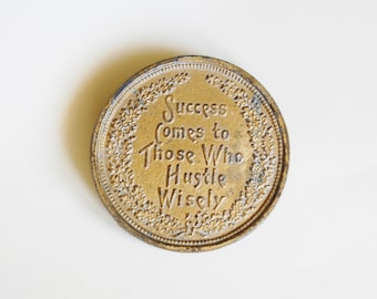 Vintage Success Comes To Those Who Hustle Wisely Belt Buckle Round Signed