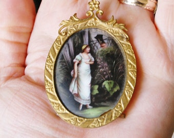 Antique Victorian Painting on Porcelain Miniature Gold Frame Woman and Soldier 1900s