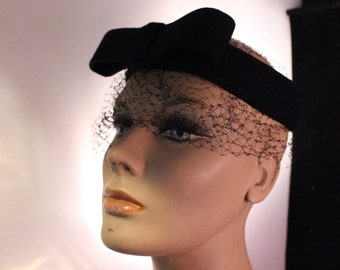 Vintage Black Felt Bow and Band with Netting Ladies' Whimsey Hat