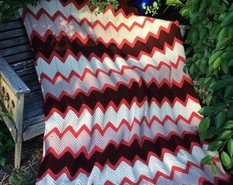 Vintage Hand Crochet Orange Brown Taupe and Cream Chevron Flame Pattern Afghan/Lap Throw