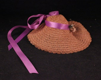 Vintage Straw Doll Hat with Large Brim, Purple Satin Ribbon and Flowers