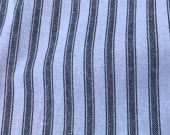 2 Yards of Vintage Black and White Stripes Cotton Ticking Look Fabric