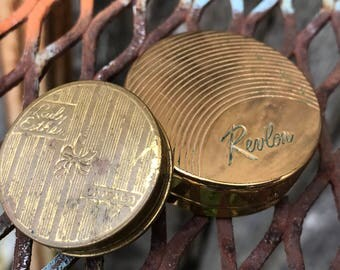 Pair of. Antique/Vintage Revlon and Lady Esther Rouge Small Goldtone Compacts