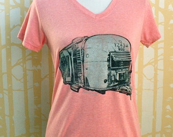 New Airstream Tee, hand printed 100% recycled poly/cotton, choose your size and color, made in USA