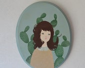 Original Painting Cactus portrait- Nature art- original illustration -cacti original paint- Portrait art- Flower creatures- Cactus
