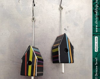 Teeny Stripe-y Birdhouses -- Upcycled Tin Earrings
