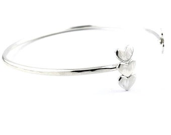 Love Eternity™ Bar Heart Lateral Cuff, personalized silver jewelry, custom sterling bangle, statement bracelet, geometric modern mom gift