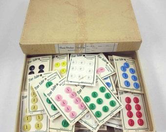 Assorted Vintage Tru Value Buttons on Original Cards Set of 59