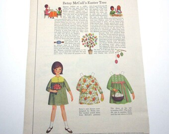 Vintage 1966 Betsy McCall Paper Doll McCall's Magazine Betsy McCall's Easter Tree