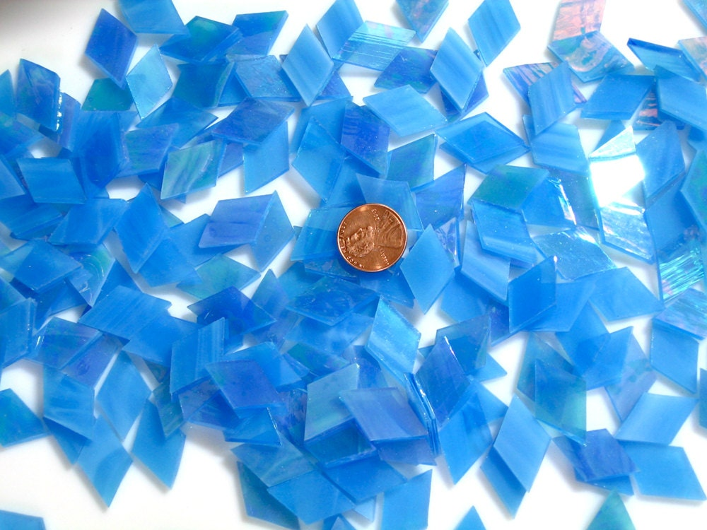 Bright blue iridescent mosaic tile tropical azure Bright blue tile
