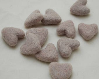 3cm 100% Wool Felt Hearts - 10 Count - Pale Silver Grey