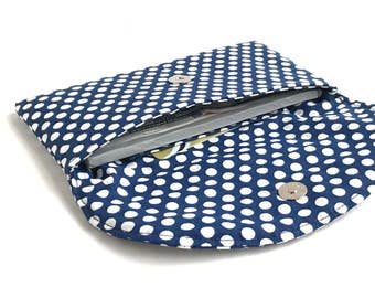Polka dot checkbook cover. Navy cream magnetic snap fabric womens coupon holder. cash envelope wallet. cute gift idea