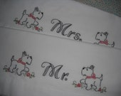 Scottie Dog Pillowcases- Hand Embroidered- Mr. &Mrs. Standard/ Queen size- set of 2