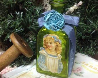Altered Bottle, Green  Mulit Media Bottle, Victorian Girl, Bud Vase, Home Decor, Up Cycled Bottle,Green Vessel, Green Vase, Victorian Vase