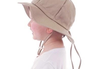 Kids Sun Hat with Chin Strap, Drawstring Adjust Head Size, Breathable 50+ UPF (Beige)